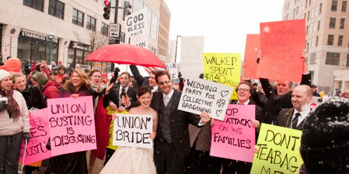 Wisconsin in protest - wedding portraits