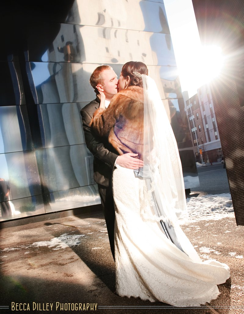Minneapolis wedding photos at the Guthrie theater in winter