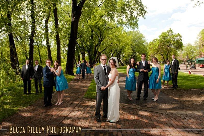 St Anthony Main wedding party photos minneapolis mn