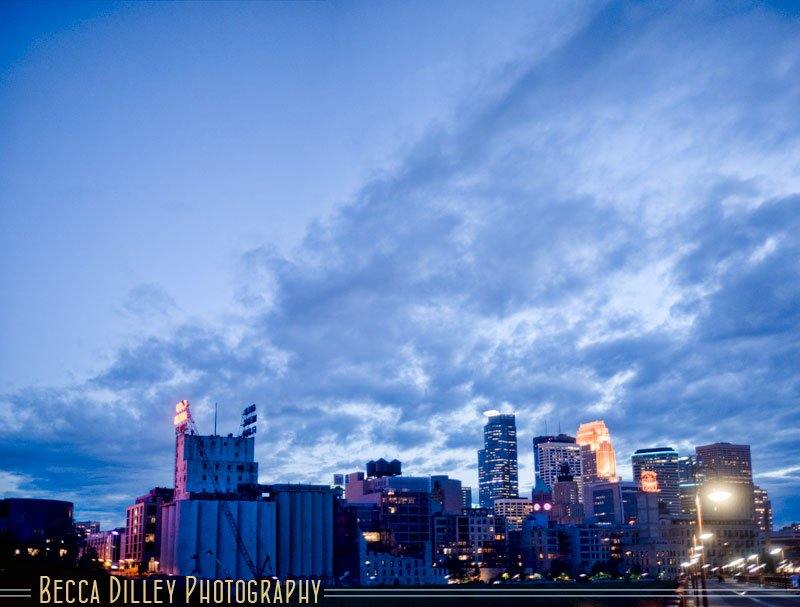 minneapolis skyline at night panorama