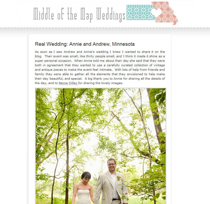 Minnesota wedding featured on middle of the map weddings