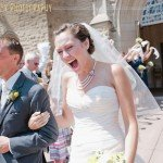 Exiting the church with waving handkerchief