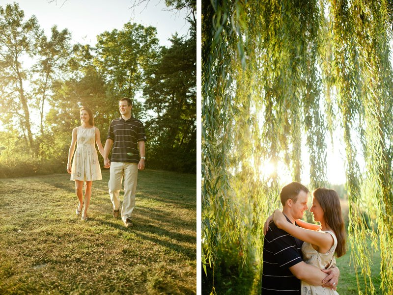 minneapolis couple portraits at lake of the isles with trees at sunset