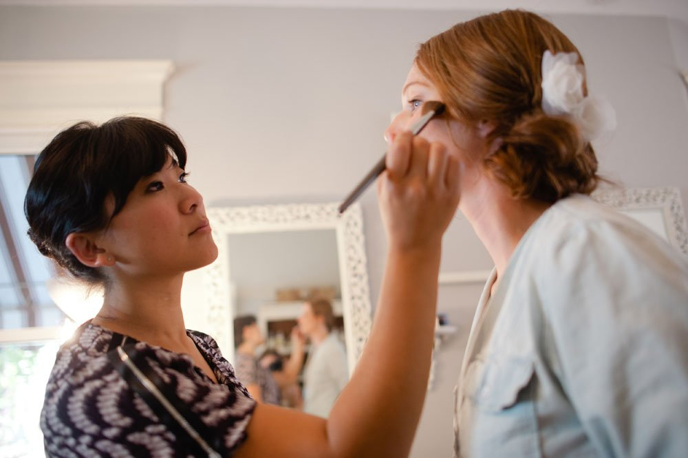 getting ready for wedding at Julie Swenson salon hair and makeup