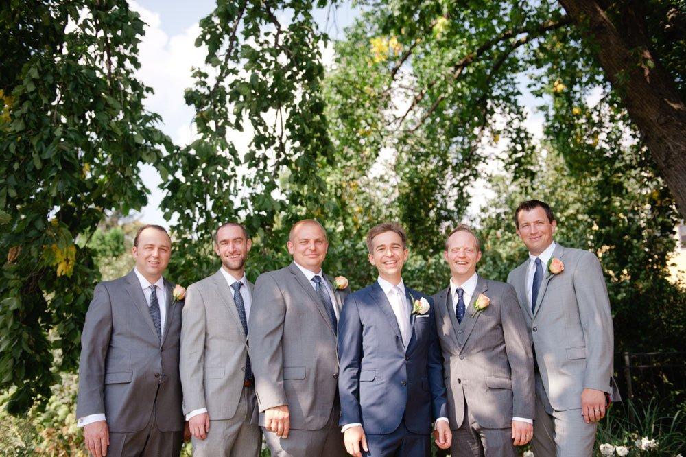 groom with 5 groomsmen in suits
