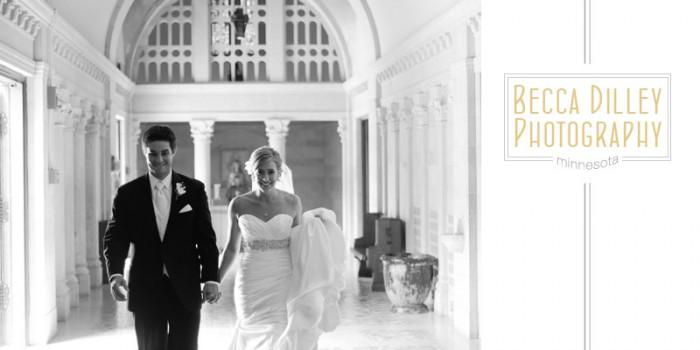 Bride and groom at catholic church lobby