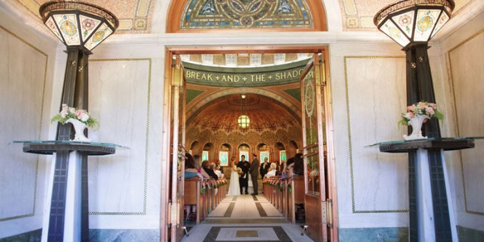 wedding ceremony in historic lakewood memorial chapel with mosaic tile in Minneapolis MN