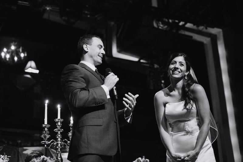 bride and groom give speech at varsity theater wedding minneapolis