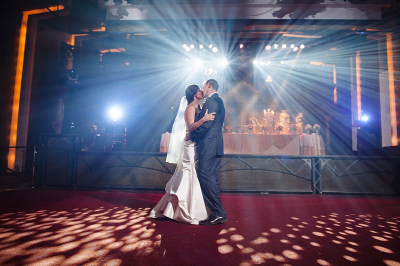 bride and groom have first dance at varsity theater wedding minneapolis