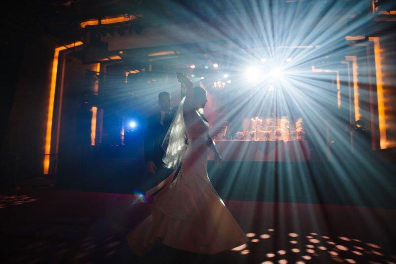 bride and groom dance at varsity theater wedding minneapolis