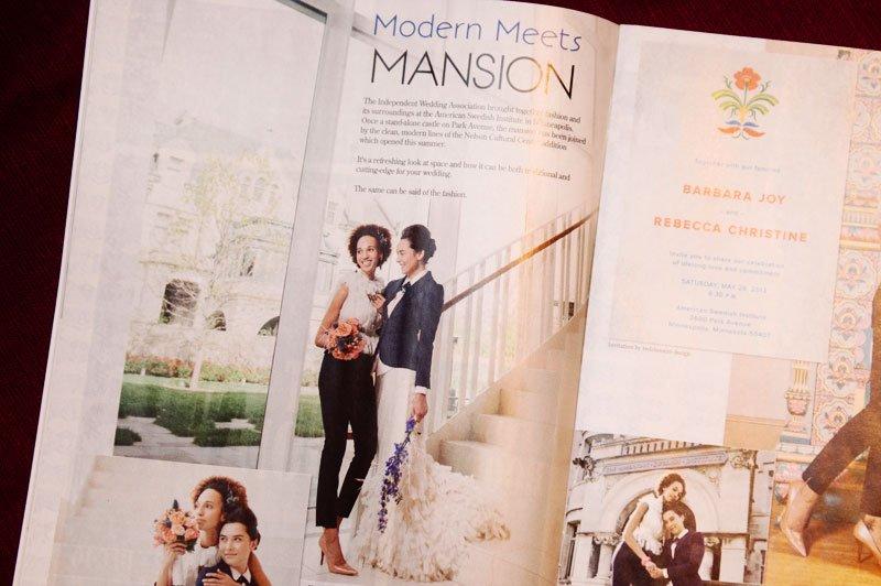 same sex wedding magazine editorial spread