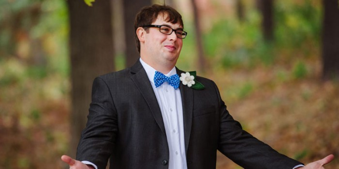 groom sees bride for first time at theadore wirth park minneapolis