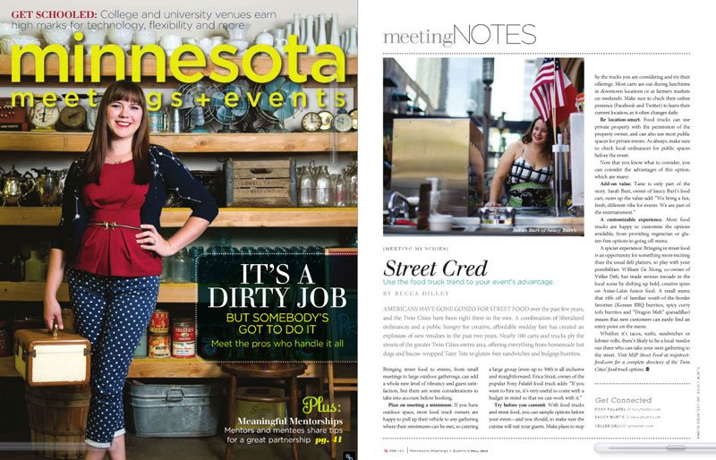 food article in MN Meetings and Events Magazine