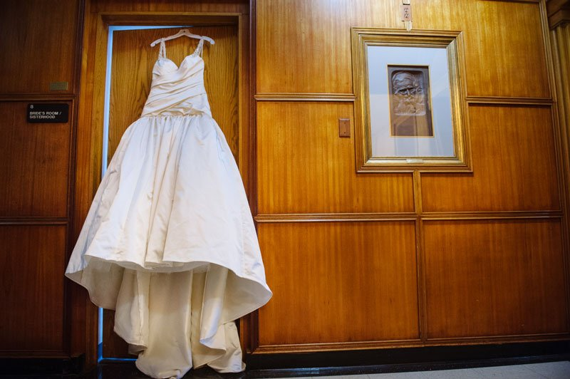 wedding dress hanging inside Temple Israel wedding Minneapolis MN