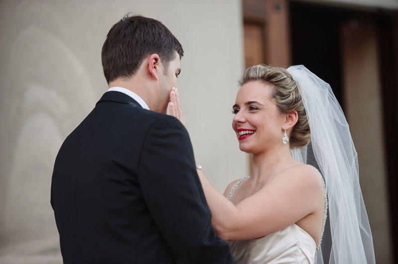 bride and groom first look before Temple Israel wedding Minneapolis MN