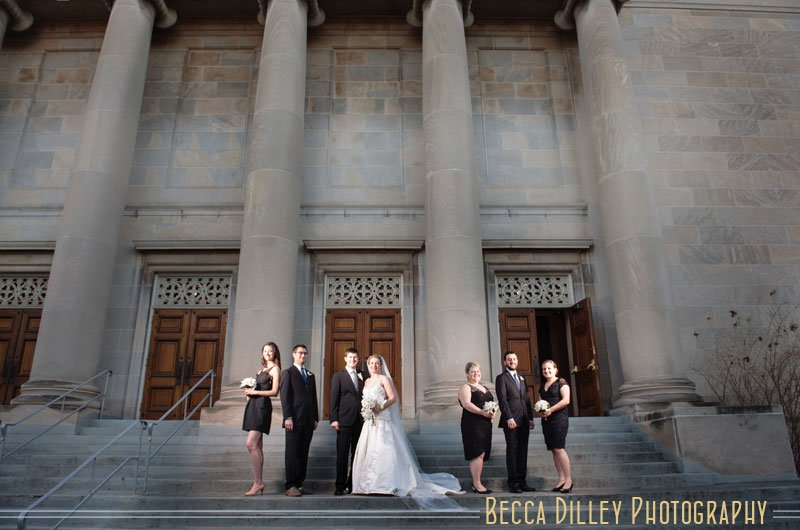 Minneapolis Temple Israel Wedding photo with small wedding party on steps with dramatic flash composite lighting