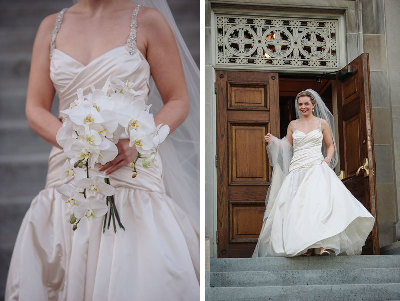 bride seeing groom for first time on steps of Temple Israel