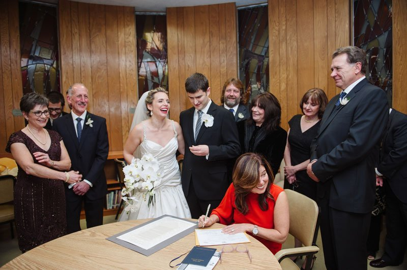 Signing the Ketubah at Temple Israel Minneapolis