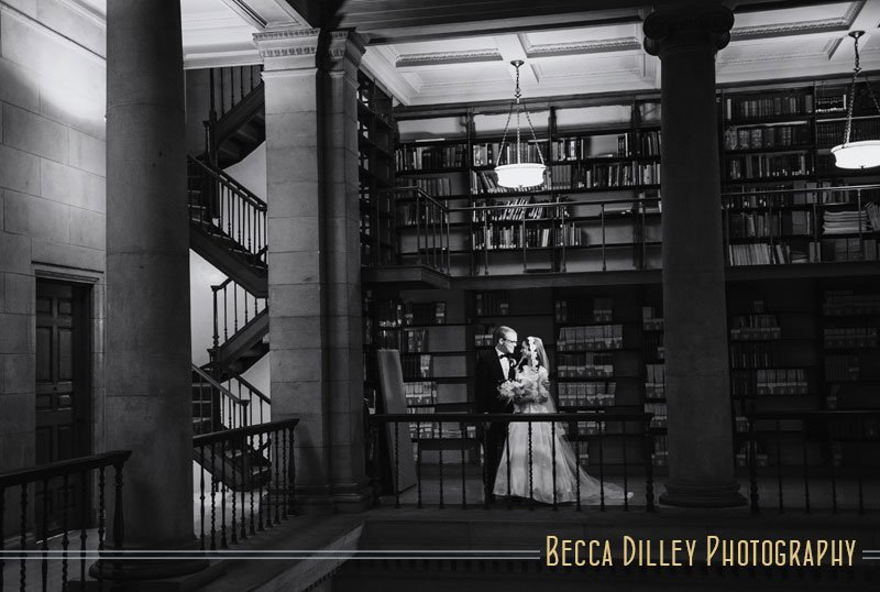 st paul mn wedding at jj hill library bride and groom with vintage architecture and stairs