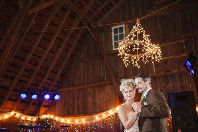 first dance in rustic WI barn wedding