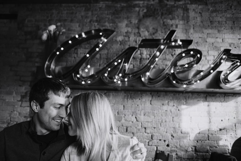Aster cafe engagement photos minneapolis in winter