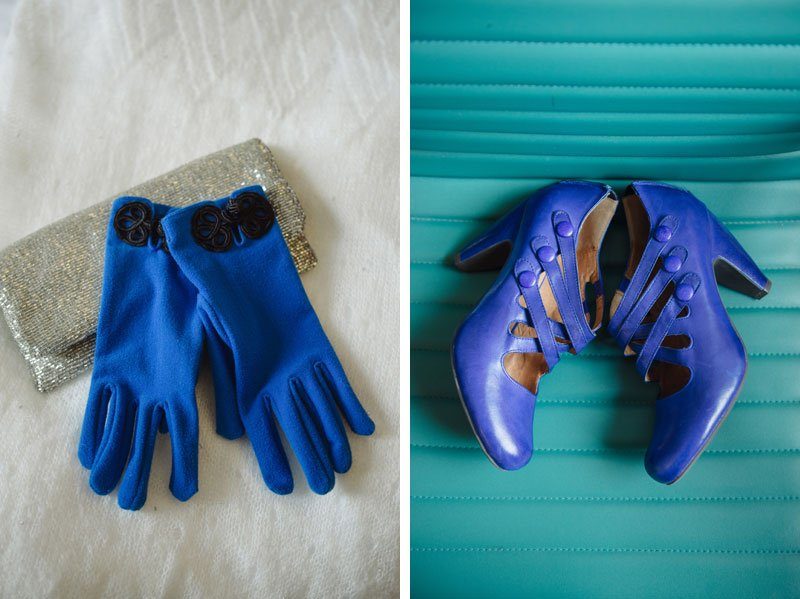blue gloves and blue spat shoes at winter wedding in minneapolis