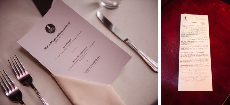 menu at happy gnome rehearsal dinner st paul mn