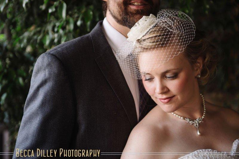 bride with birdcage veil at loring pasta bar wedding minneapolis