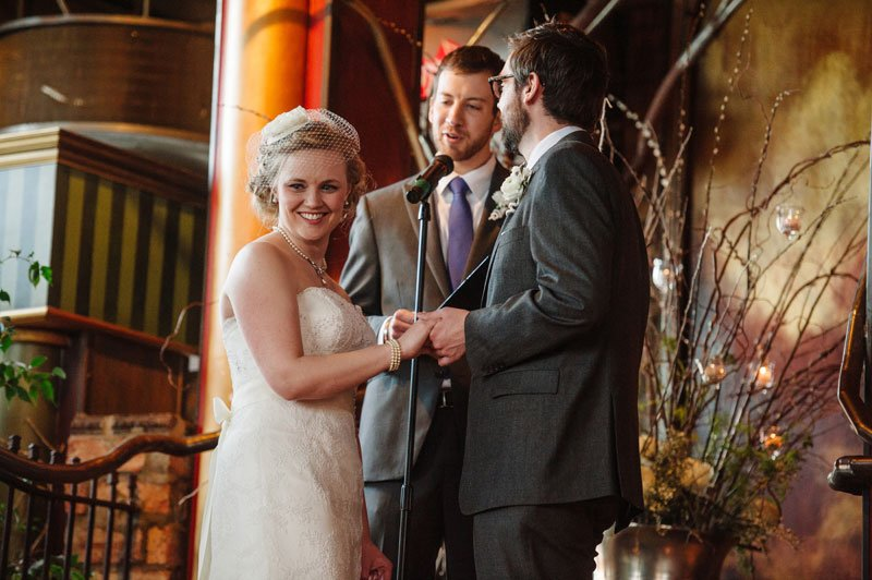 bride laughs at loring pasta bar wedding ceremony minneapolis