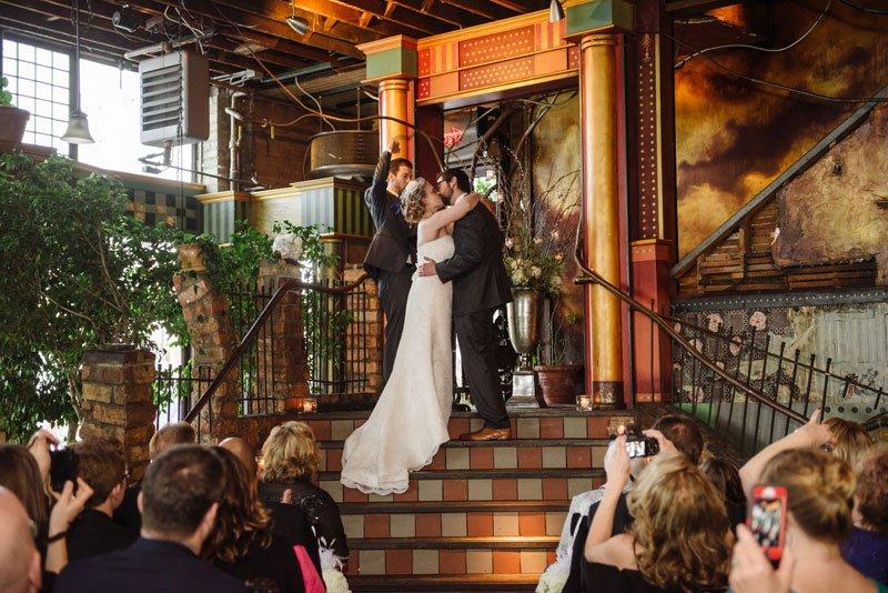 first kiss at loring pasta bar wedding minneapolis