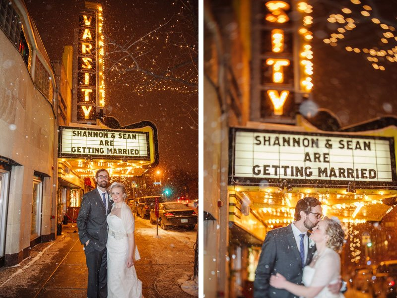 bride and groom outside varisty theater wedding marquee in snow storm minneapolis