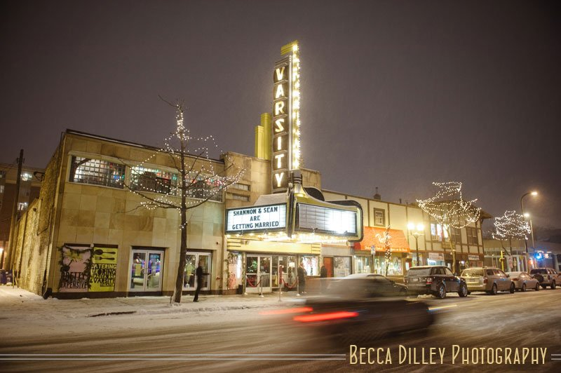 varsity theater at night with snow after wedding minneapolis