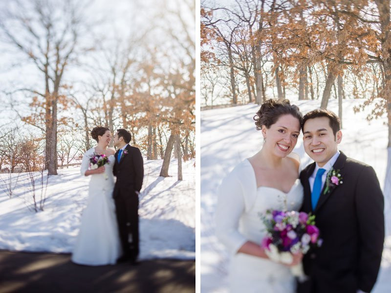 bride and groom with snowy trees for Silverwood park center mn wedding