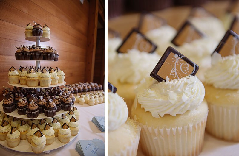 wedding cupcakes for mn wedding at silverwood park center in winter