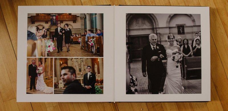 black leather flush mount wedding album