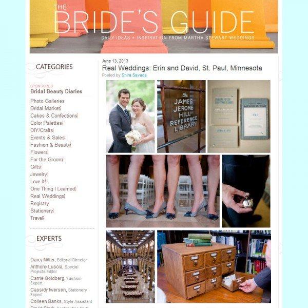 Minnesota wedding photographer featured on Martha Stewart Weddings