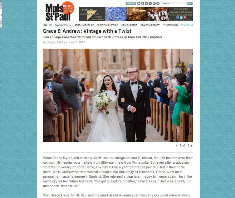st paul wedding featured on MSP weddings magazine