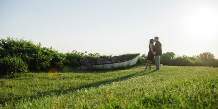 bride and groom with row boat