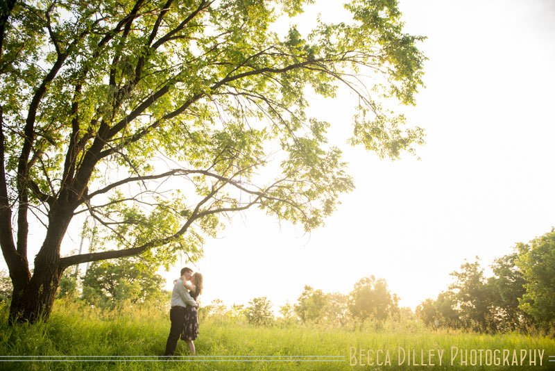 engagement photos by tree