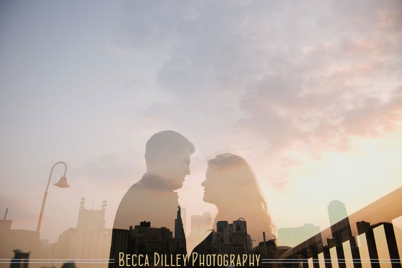 Couple with silhouette of Minneapolis skyline