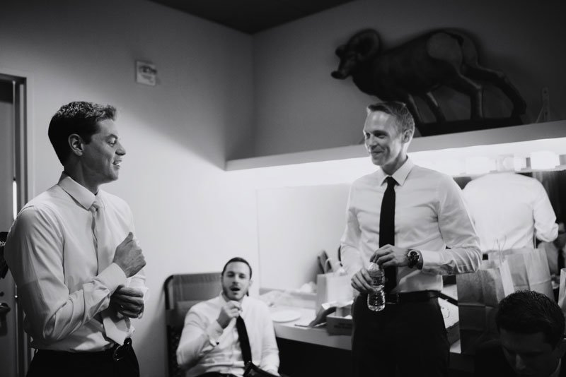 groomsmen getting ready at Guthrie theater minneapolis mn