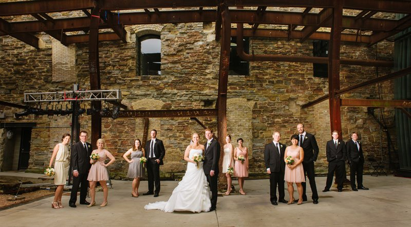 wedding part at mill city ruins in Minneapolis flash composite