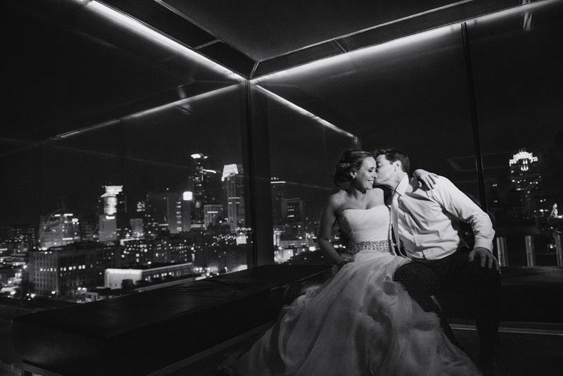 bride and groom at night in Guthrie theater minneapolis mn