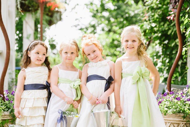 4 flower girls at allen centennial gardens wedding