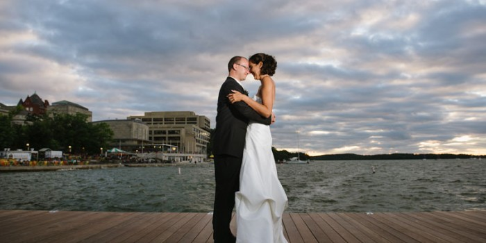 couple on new pier of memorial union in Madison