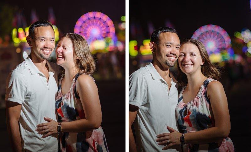 minnesota state fair engagement photos at night