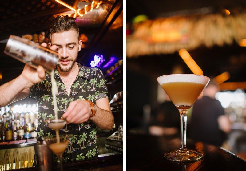 bartender making classic tiki drinks