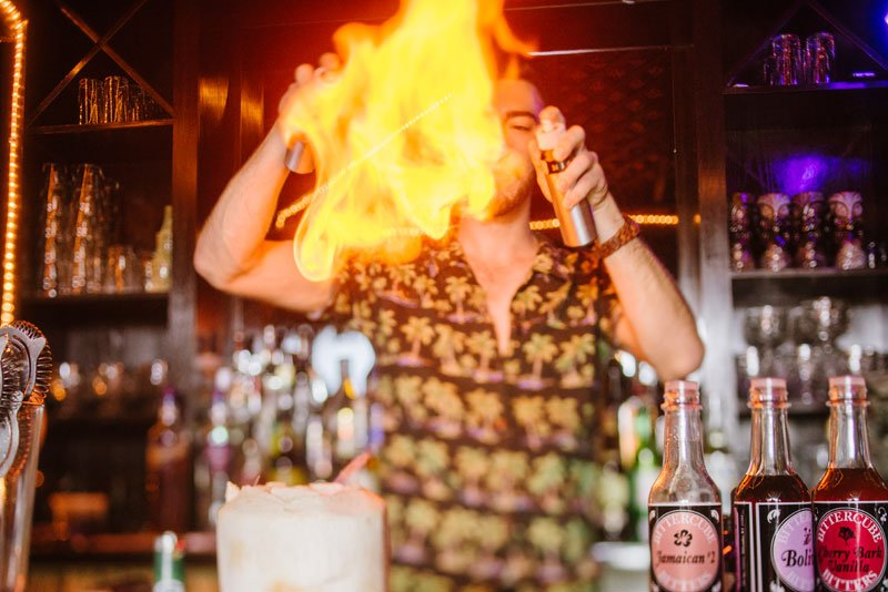 bartender dancing with fire