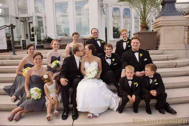 wedding party on steps at como park st paul mn