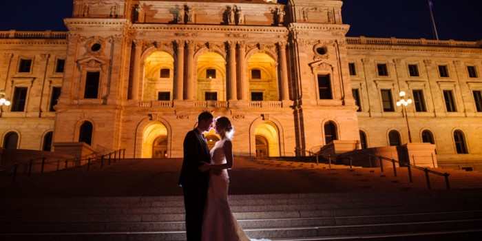 Bride and groom at Minnesota State Capitol at night